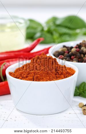 Paprika Powder Spicy Red Hot Chili Peppers Chilli Portrait Format Cooking Ingredients