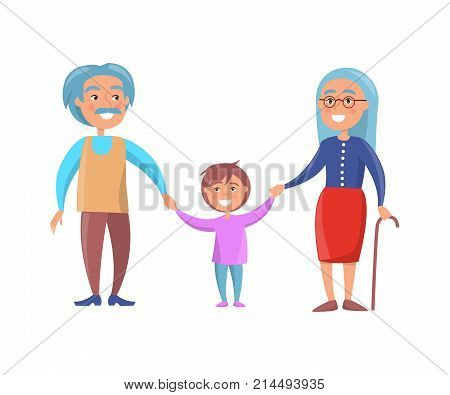 Old couple walking with grandson holding hands vector illustration isolated on white background. Grandmother with stick and grandpa with moustaches