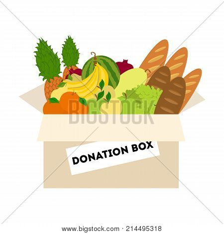 Isolated food donation box for poor and homeless people.