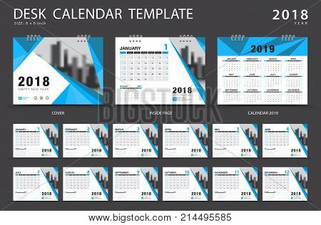 Desk Calendar 2018 Template. Set Of 12 Months. Planner. Week Starts On Sunday. Stationery Design. Ad