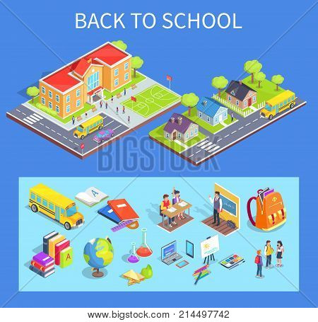 Back to school collection of isolated vector illustrations. Cartoon style residential area, educational institution and various objects below