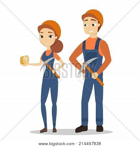 Isolated miners couple in unifrom with pickaxe on white background.