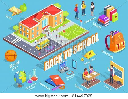 Back to school 3d vector illustration with various objects on light blue. Cartoon style educational institution building and education-related icons