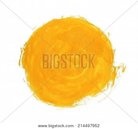 Yellow acrylic circle. Element for different design