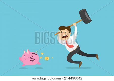 Businessman with hummer trying to catch running away piggy bank.