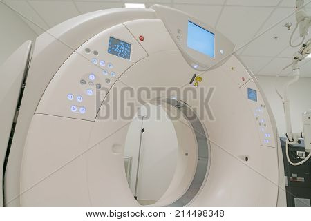 CT Scanner in hospital in radiography center.