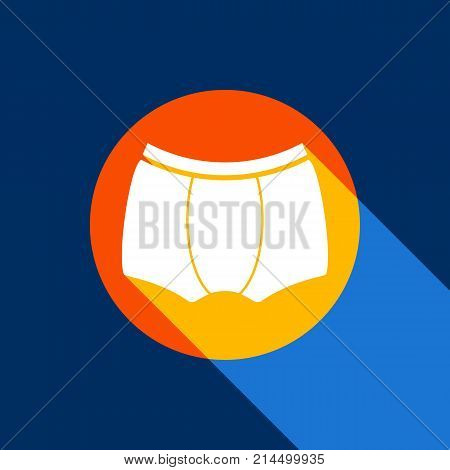 Man's underwear sign. Vector. White icon on tangelo circle with infinite shadow of light at cool black background. Selective yellow and bright navy blue are produced.