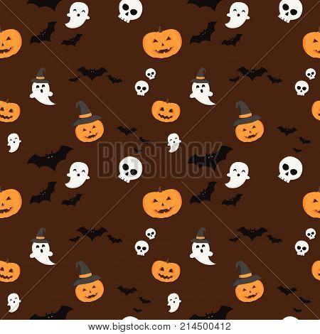 Pattern halloween bats halloween ghost and hallowen orange pumpkin on dark red background. Hallowen pattern black bats white ghost and orange pumpkin on dark red background