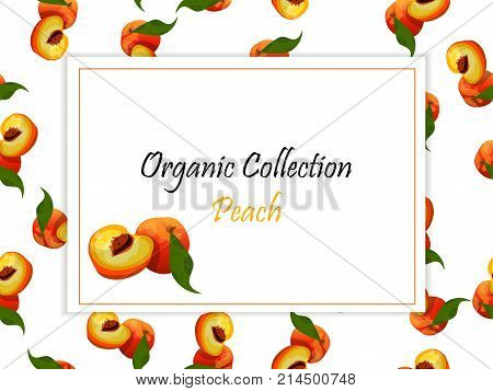 Colorful vintage Peach label poster vector illustration. symbol for jam and juice product label or grocery store, shop and farm market design. Vector square label, peach jam, sauce or juice label on a seamless pattern background with soft shadow