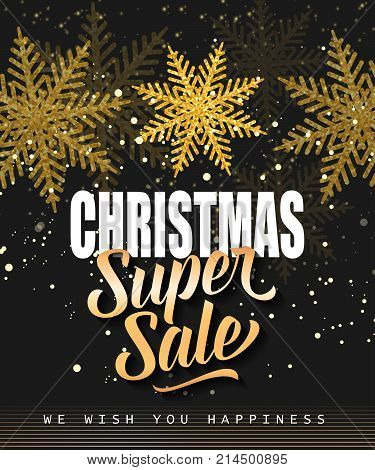 Christmas super sale lettering with snowflakes on black background. Inscription can be used for leaflets, festive design, posters, banners