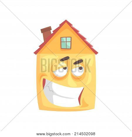 Cute house cartoon character with ironical expression on its face, funny  emoticon vector illustration isolated on a white background