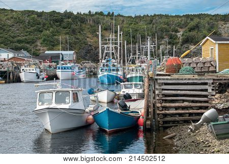 Small Harbor in Newfoundland:  Fishing boats in various sizes gather beside rustic wooden docks stacked with lobster traps near the village of Trout River on the western coast of Newfoundland.