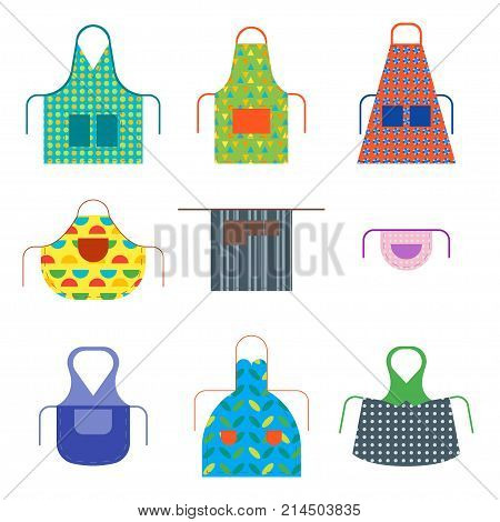 Cartoon Cooking Aprons Color Icon Set Kitchen Clothing Protective Uniform Isolated on White Background. Vector illustration of Apron