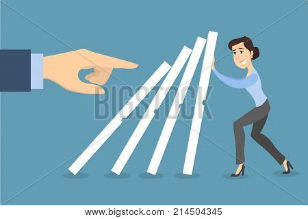 Businesswoman trying to stop dominoes. Concept of risk.