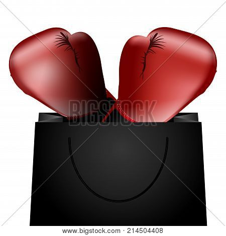 Isolated shopping bag with boxing gloves on a whte background, vector illustration