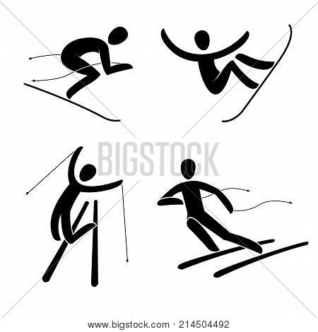 Silhouette Of Snowboard, Snowboarder Alpine Downhill Skier Vector Illustration.