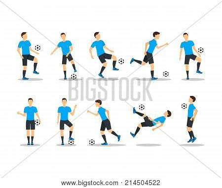 Cartoon Football Players Icon Set Playing, Kicking, Training and Practicing Soccer Sport. Vector illustration of Footballer and Game Ball