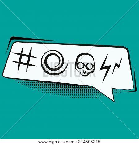Comic speech bubble with swear words symbols retro comics vector illustration.
