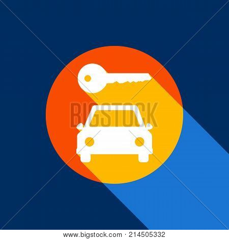 Car key simplistic sign. Vector. White icon on tangelo circle with infinite shadow of light at cool black background. Selective yellow and bright navy blue are produced.