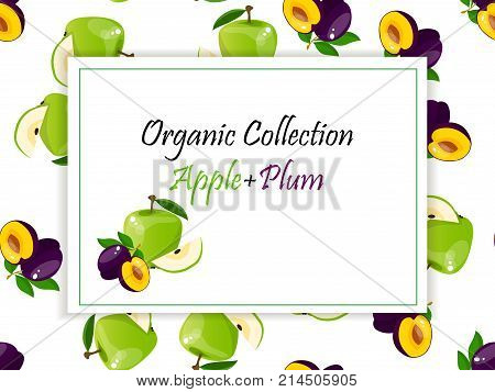 logo of fresh green apple and plum juice. Vector square label, apple and plum jam, sauce or juice label on a seamless pattern background with soft shadow