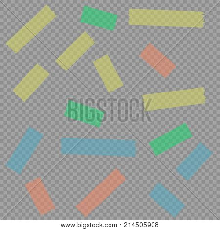 Adhesive Masking Paper Sticky Scotch Strip Tapes on isolate background vector illustration EPS10.