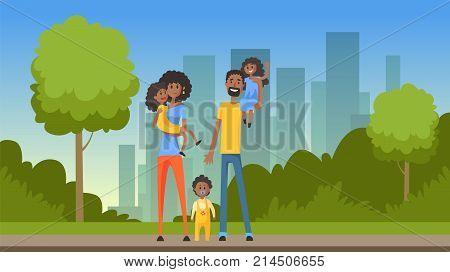 Happy african family with many children on city background, flat vector illustration, web banner