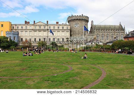 DUBLIN IRELAND - SEPTEMBER 6 2016: Landscape view of the Dublin castle on September 6 2016