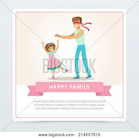 Father playing hide and seek with his daughter, happy family banner flat vector element for website or mobile app with sample text