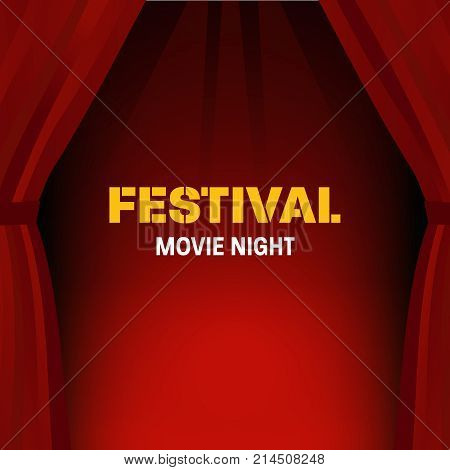 Festival movie night. Cinema, movie time. Cinema or theater hall. Movie cinema premiere poster design with red curtains. Cinema hall, wood podium, red curtains, widescreen. Vector illustration.