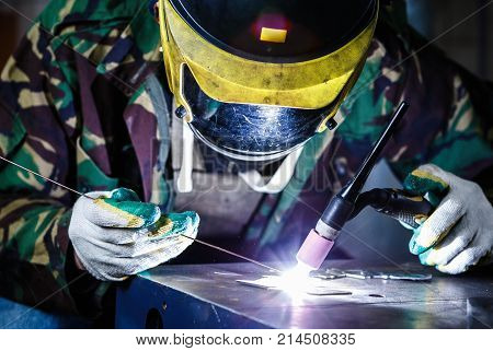 Welder Welding With Electric Torch Tool