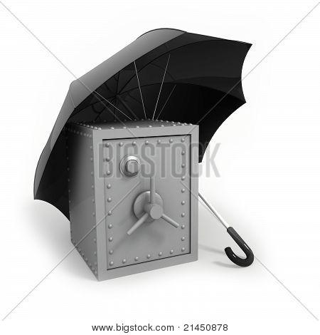 Bank safe under umbrella