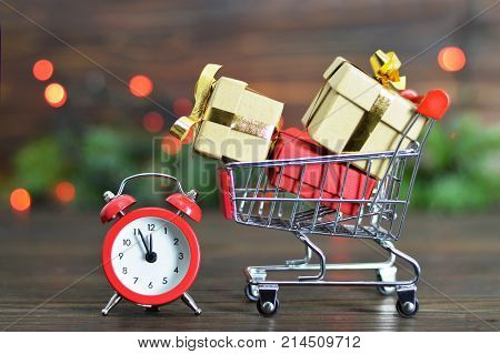 Abstract image of last minute Christmas gift shopping