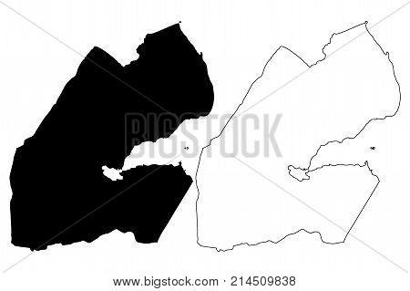 Djibouti map vector illustration , scribble sketch Republic of Djibouti