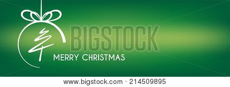 abstract merry christmas banner, line christmas tree circle concept background, vector illustration