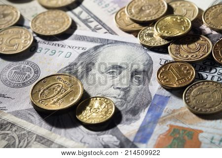coins and dollars . Photos in the studio