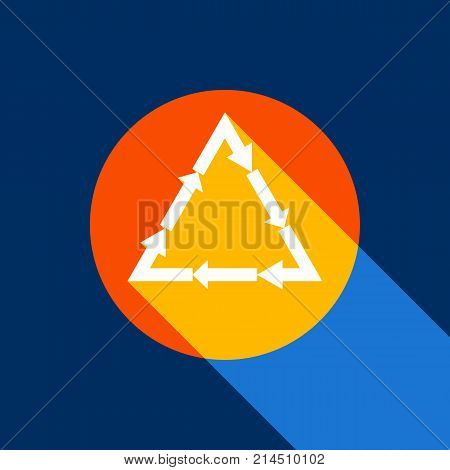 Plastic recycling symbol PVC 3 , Plastic recycling code PVC 3. Vector. White icon on tangelo circle with infinite shadow of light at cool black background. Selective yellow and bright navy blue are produced.