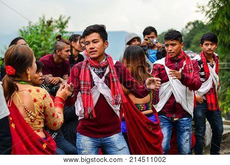Folk Dance During Tihar Festival In Nepal