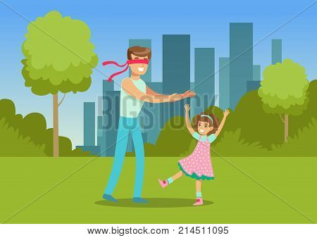 Father playing hide and seek with his daughter in city park outside, family leisure vector illustration, web banner
