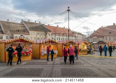Sibiu 2017: People at the Christmas market wich is taking place in Sibiu main square Transylvania Romania