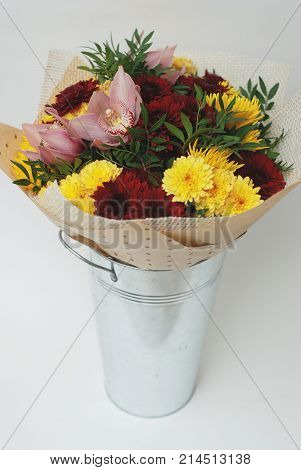 Bouquet of Autumn Flowers. Red and Yellow