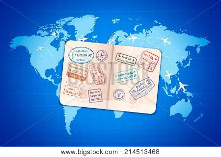Open foreign document with international visa stamps on blue modern world map with airline routes
