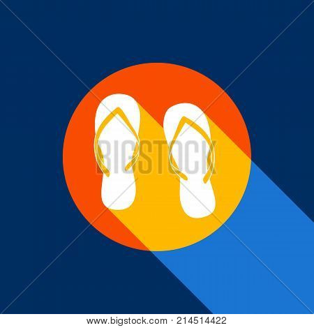 Flip flop sign. Vector. White icon on tangelo circle with infinite shadow of light at cool black background. Selective yellow and bright navy blue are produced.