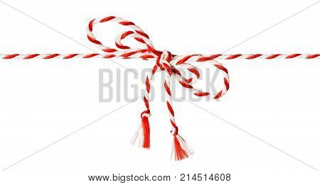 White Red Rope Bow Isolated over White Background Twine Color Ribbon and Tied Knot