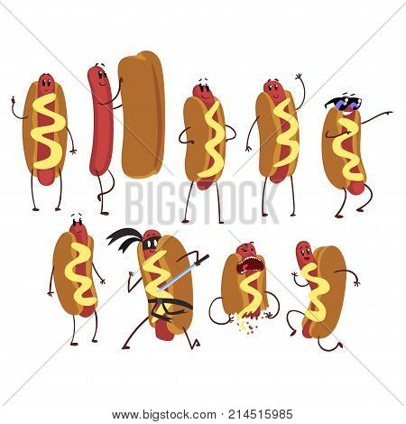 Set of funny cartoon hot dog character in action. Self-confident, naked, friendly, running, ninja, cool, frightened. Fast food concept. Flat design vector illustration isolated on white background.