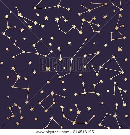 Constellations seamless pattern. Golden stars. Vector illustration.