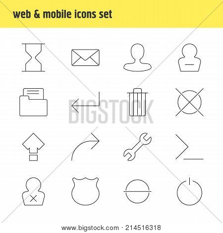 Vector Illustration Of 16 Interface Outline Icons. Editable Set Of Switch Off, Accsess, Envelope And Other Elements.