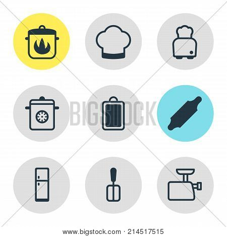 Vector Illustration Of 9 Kitchenware Icons. Editable Set Of Bread, Bakery Roller, Stewpot And Other Elements.