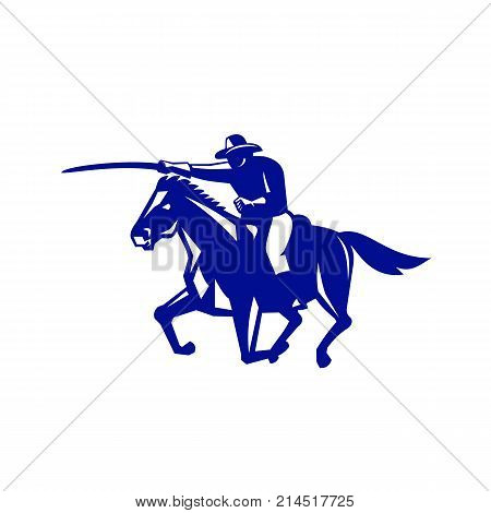 Retro style illustration of an American or United States  Cavalry riding on horse with sword Charging viewed from side on isolated background.