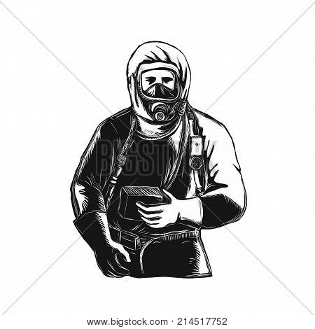 Scratchboard style illustration of an EMTEmergency Medical Technician firefighter Paramedic researcher Worker Wearing Hazmat Suit done on scraperboard on isolated background.