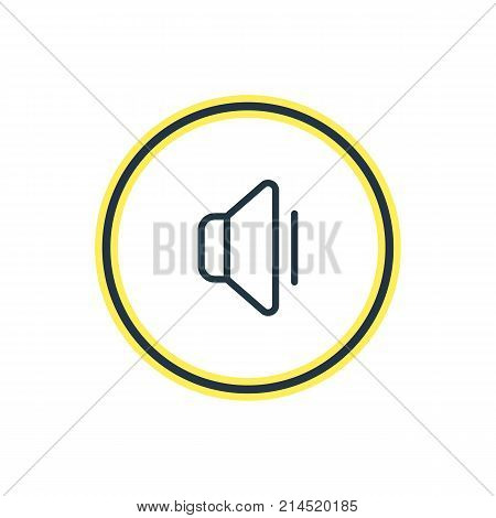Vector Illustration Of Volume Down Outline. Beautiful Media Element Also Can Be Used As Bullhorn Element.